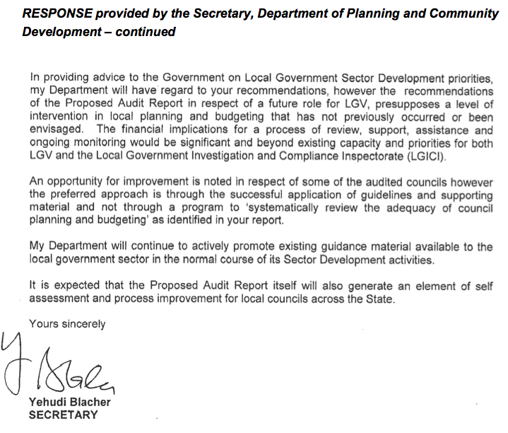 RESPONSE provided by the Secretary, Department of Planning and Community Development – continued