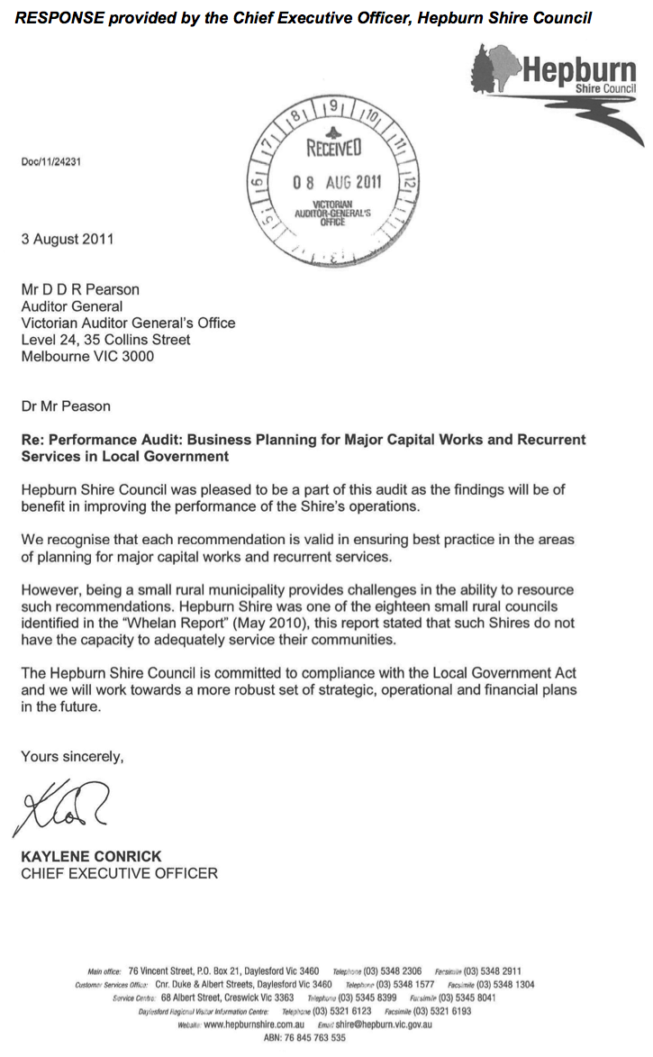 RESPONSE provided by the Chief Executive Officer, Hepburn Shire Council