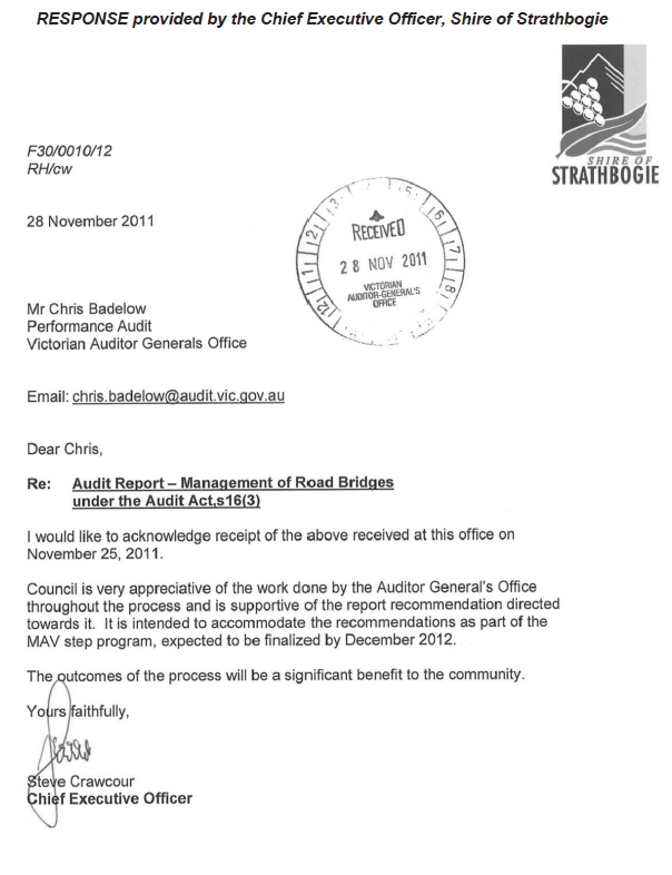 RESPONSE provided by the Chief Executive Officer, Shire of Strathbogie