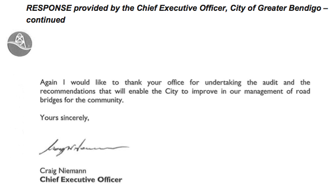 RESPONSE provided by the Chief Executive Officer, City of Greater Bendigo – continued