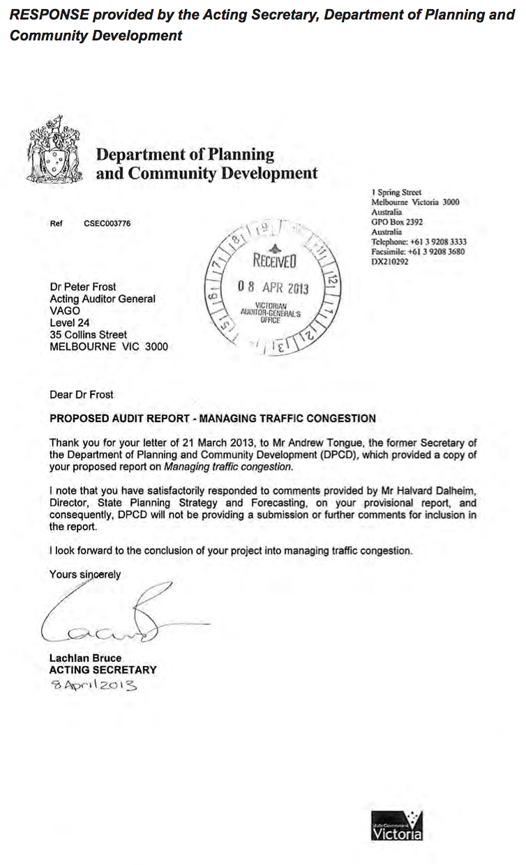 RESPONSE provided by the Acting Secretary, Department of Planning and Community Development