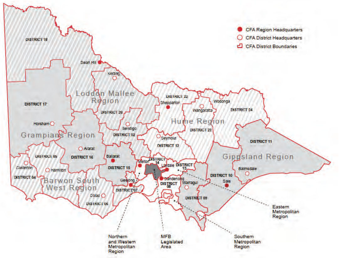 Figure 1G shows Country Fire Authority distribution of regions and districts
