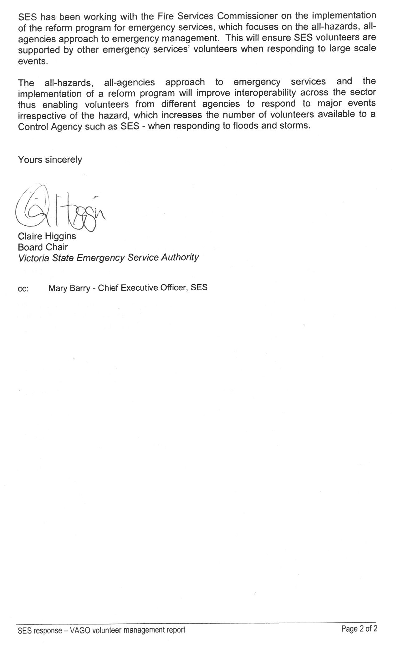 Second page of response provided by the Board Chair, Victoria State Emergency Service Authority