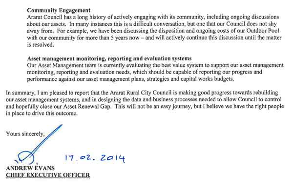 RESPONSE provided by the Chief Executive Officer, Ararat Rural City Council