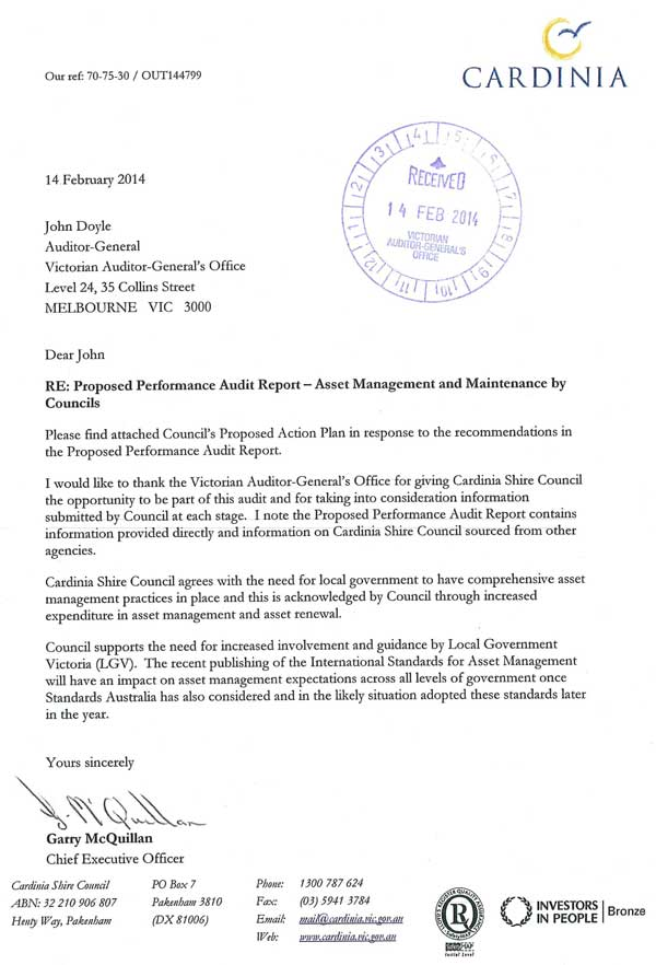RESPONSE provided by the Chief Executive Officer, Cardinia Shire Council