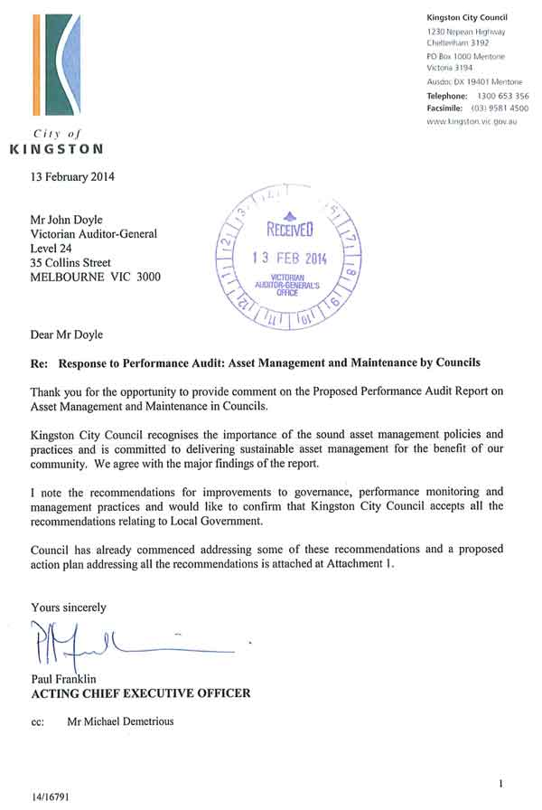 RESPONSE provided by the Acting Chief Executive Officer, Kingston City Council