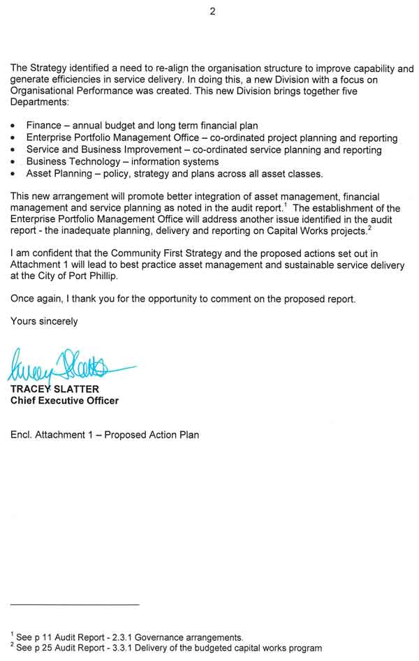 RESPONSE provided  by the Chief Executive Officer, Port Phillip City Council – continued