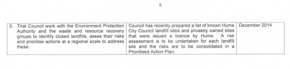 RESPONSE provided by the Chief Executive Officer, Hume City Council – <cite> continued</cite>