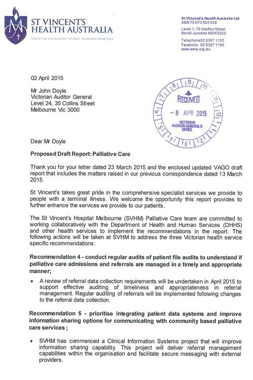 Response provided by the Chairman, St Vincent's Health Australia, page 1.