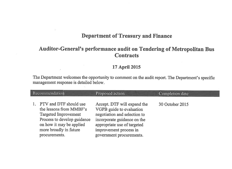 Response provided by the Secretary, Department of Treasury and Finance, page 2.