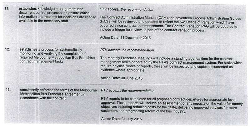 Response provided by the Chief Executive Officer, Public Transport Victoria, page 6.