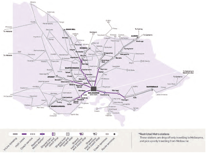 Map of myki on the regional train and coach network.