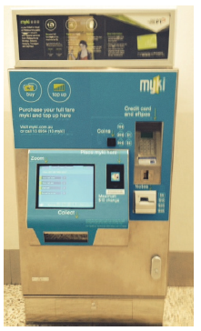 Image is of a myki card vending and top-up machine. Photograph by of the Victorian Auditor-General's Office.