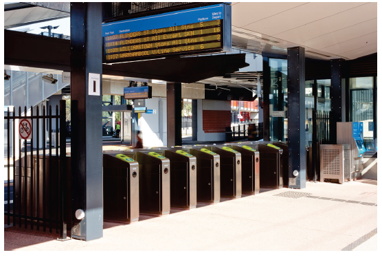 Image is of a train station in Melbourne. Photograph courtesy of Public Transport Victoria