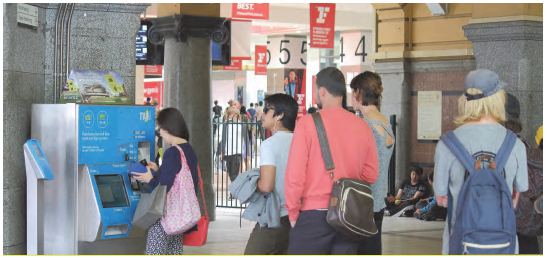 Image of a a queue for a myki machine. Photograph courtesy of TK Kurikawa / Shutterstock.com