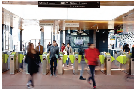 Image is of entry/exit gates at a Melbourne train station. Photograph courtesy of Public Transport Victoria.
