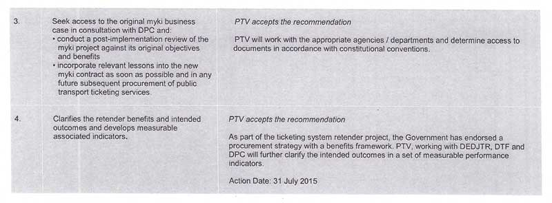 Response provided by the Chief Executive Officer, Public Transport Victoria, page 3.