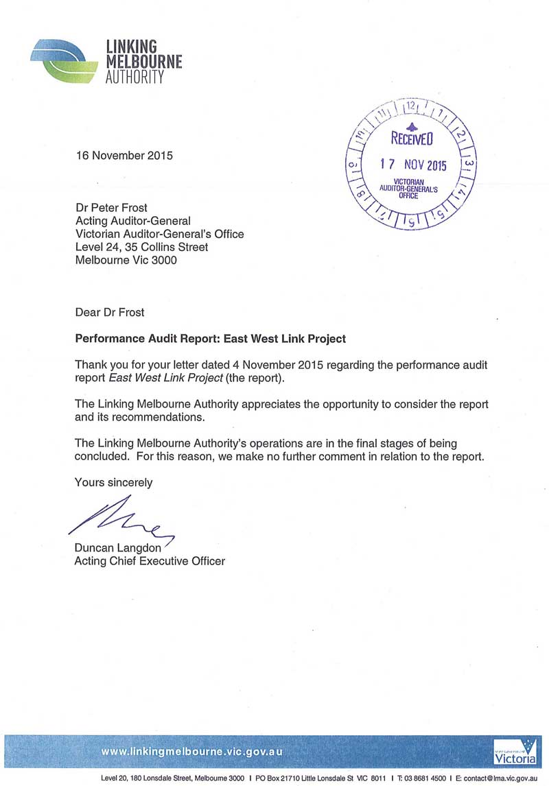 Response provided by the Acting Chief Executive Officer, Linking Melbourne Authority, page 1.