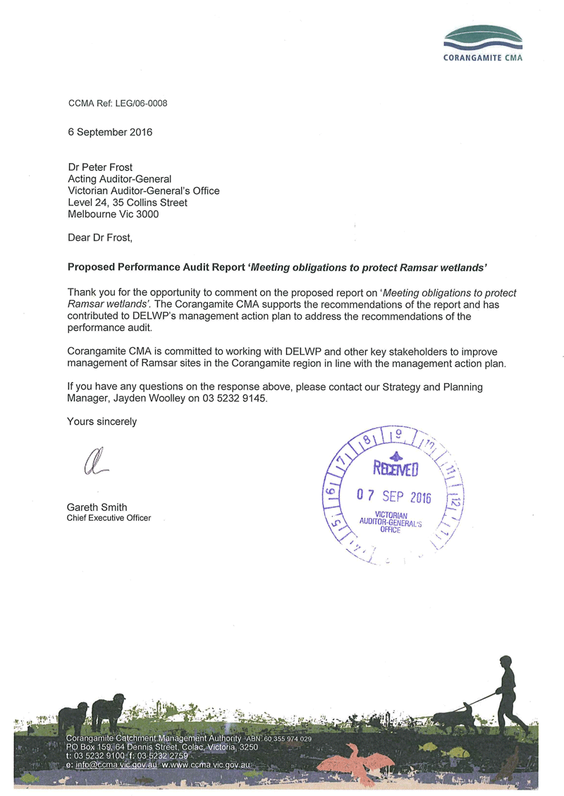 RESPONSE provided by the Chief Executive Officer, Corangamite Catchment Management Authority