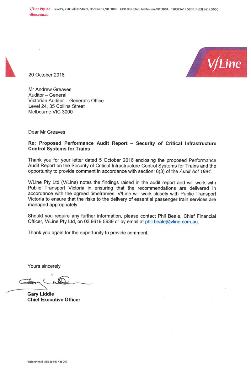 RESPONSE provided by the Chief Executive Officer, V/Line Proprietary Limited