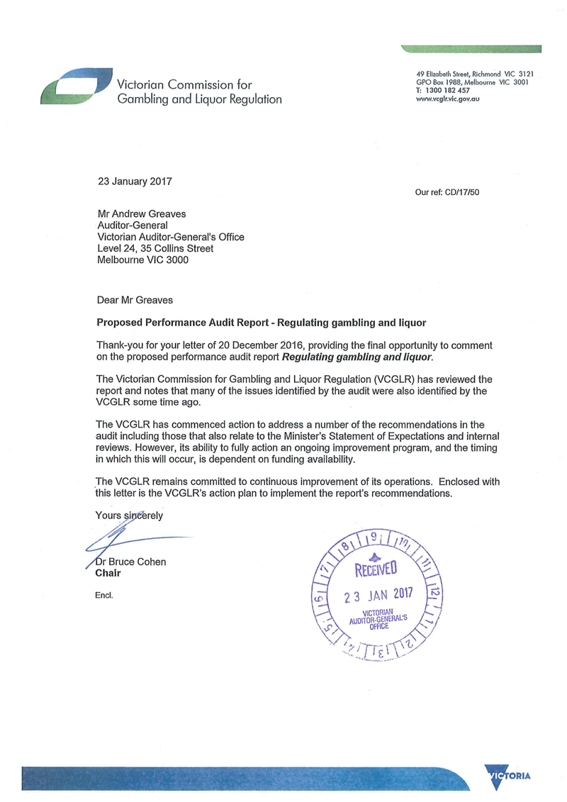 RESPONSE provided by the Chair, Victorian Commission for Gambling and Liquor Regulation