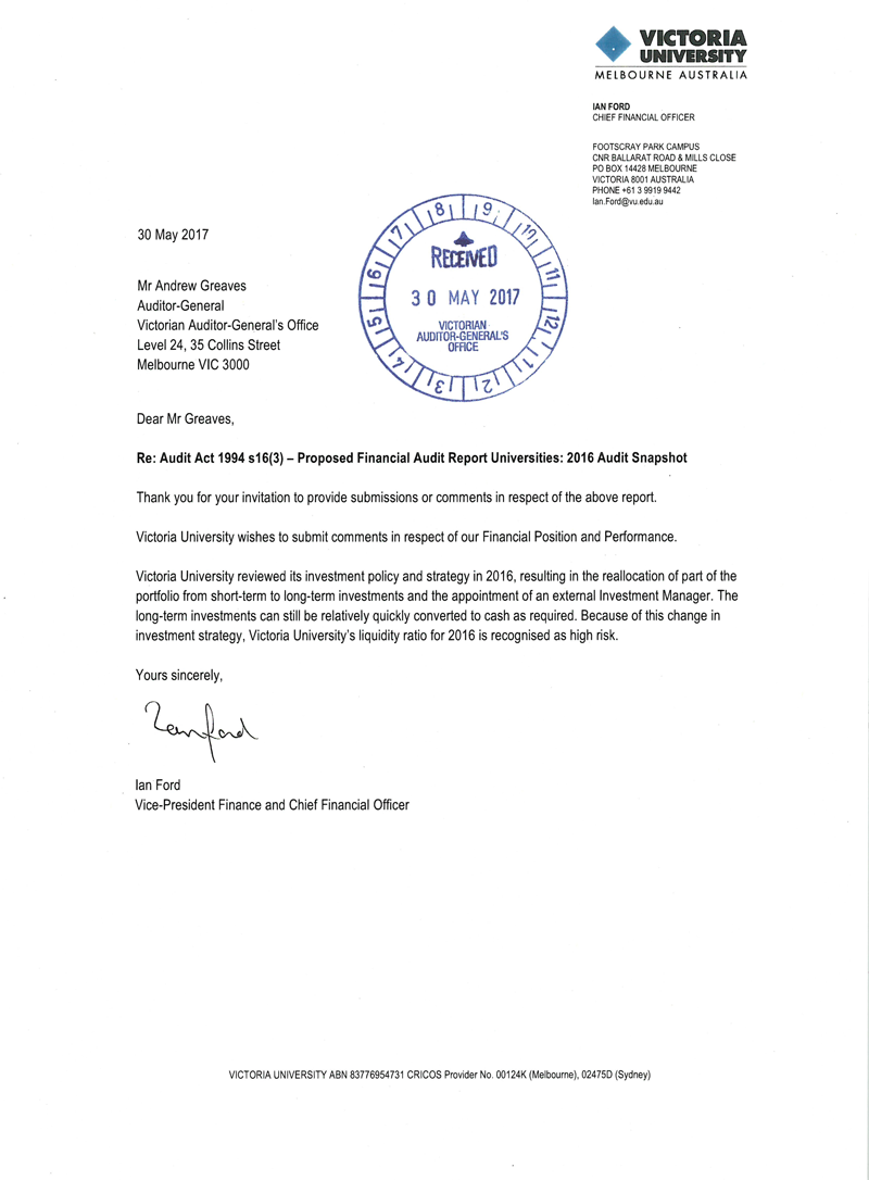 RESPONSE provided by the Vice-President Finance and Chief Financial Officer, Victoria University