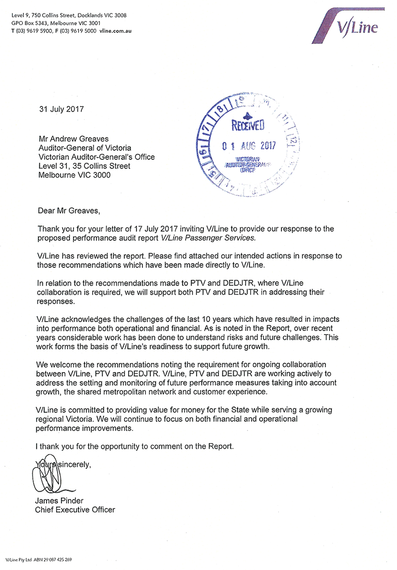 Letter from the Chief Executive Officer of VLine