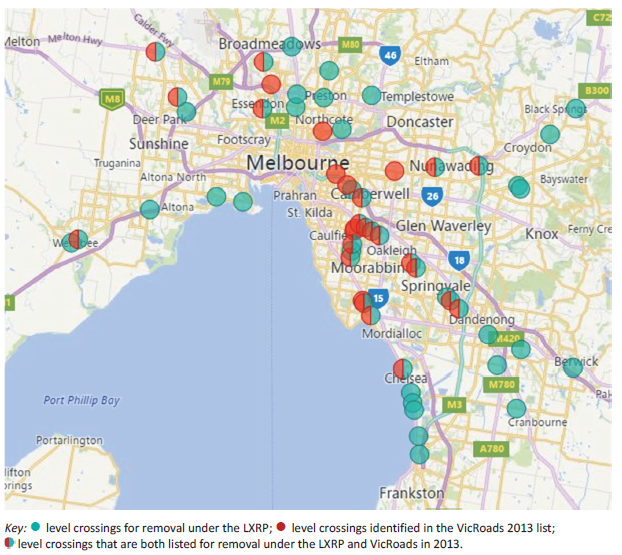 Map showing LXRP crossings compared to VicRoads 2013 list