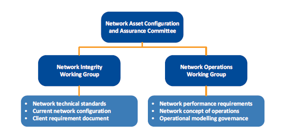 Chart showing the network integrity governance framework