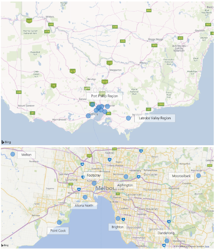 Two maps showing EPA's ambient air quality monitoring network. The first map shows the whole of Victoria and the second map is a close up of metropolitan Melbourne.