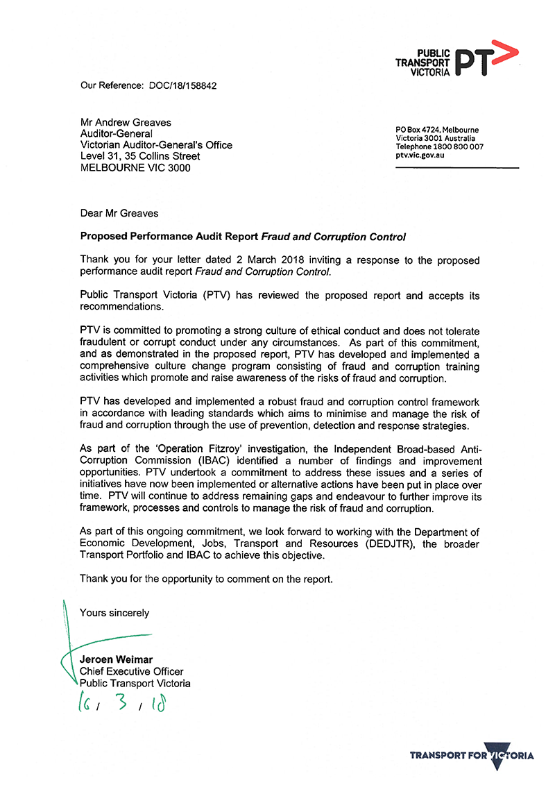 Response provided by the Chief Executive Officer, PTV - page 1