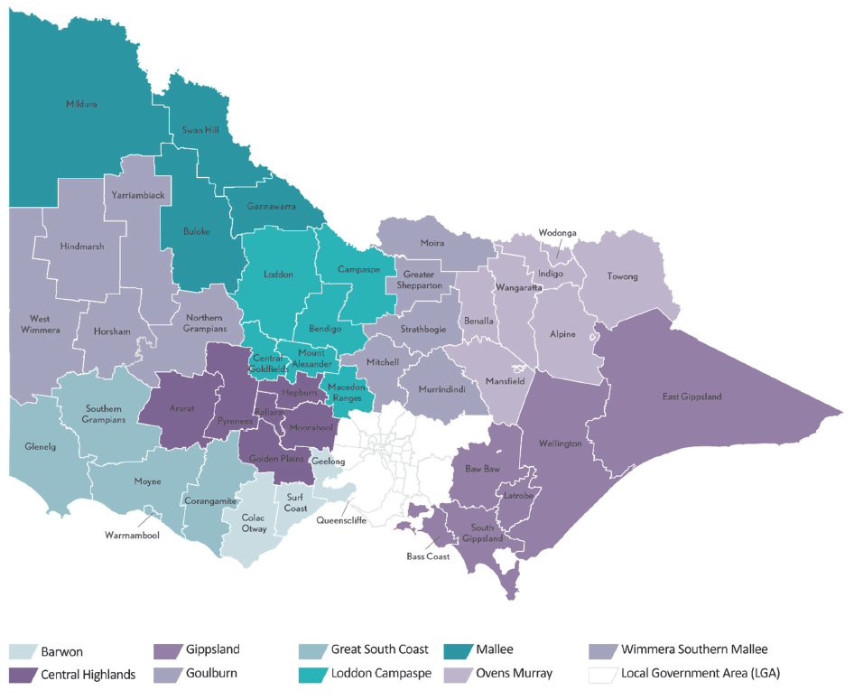 Map showing regional partnerships in Victoria