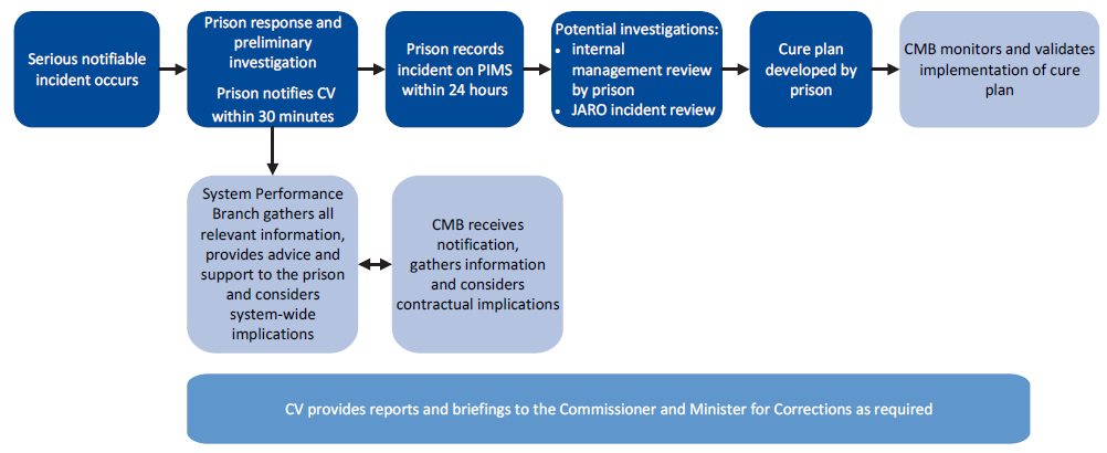 Summary of notification and investigation processes after a serious incident
