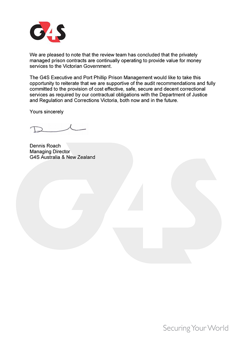 RESPONSE provided by the Managing Director, G4S