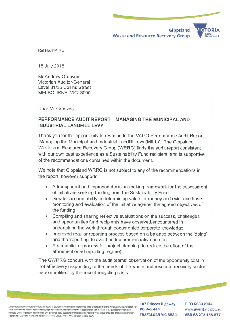 RESPONSE provided by the Chair, GWRRG, page 1