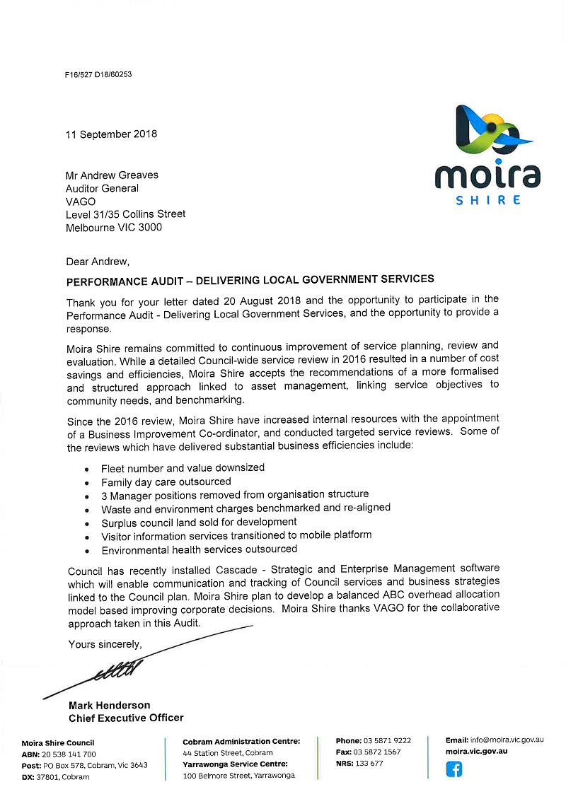 RESPONSE provided by the Chief Executive Officer, Moira.
