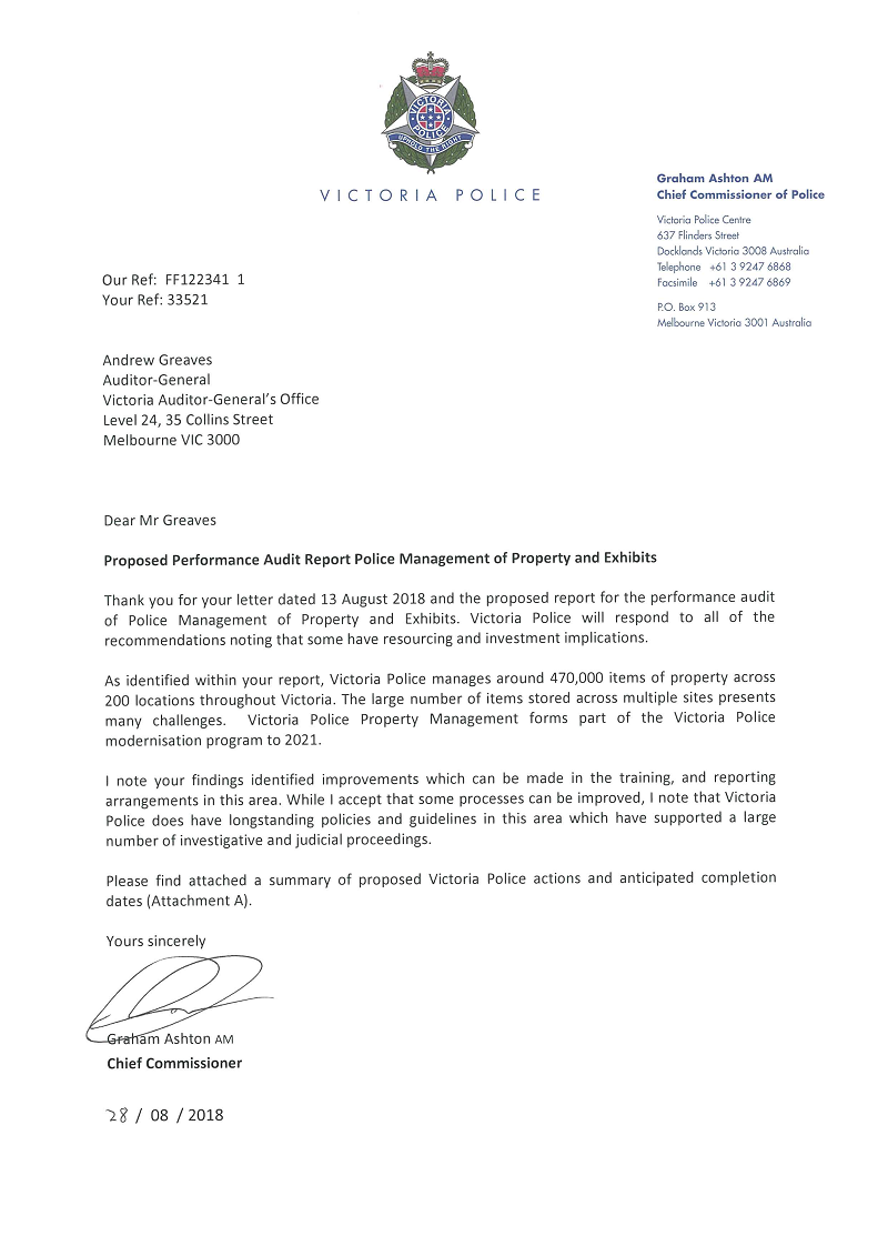 RESPONSE provided by the Chief Commissioner, Victoria Police