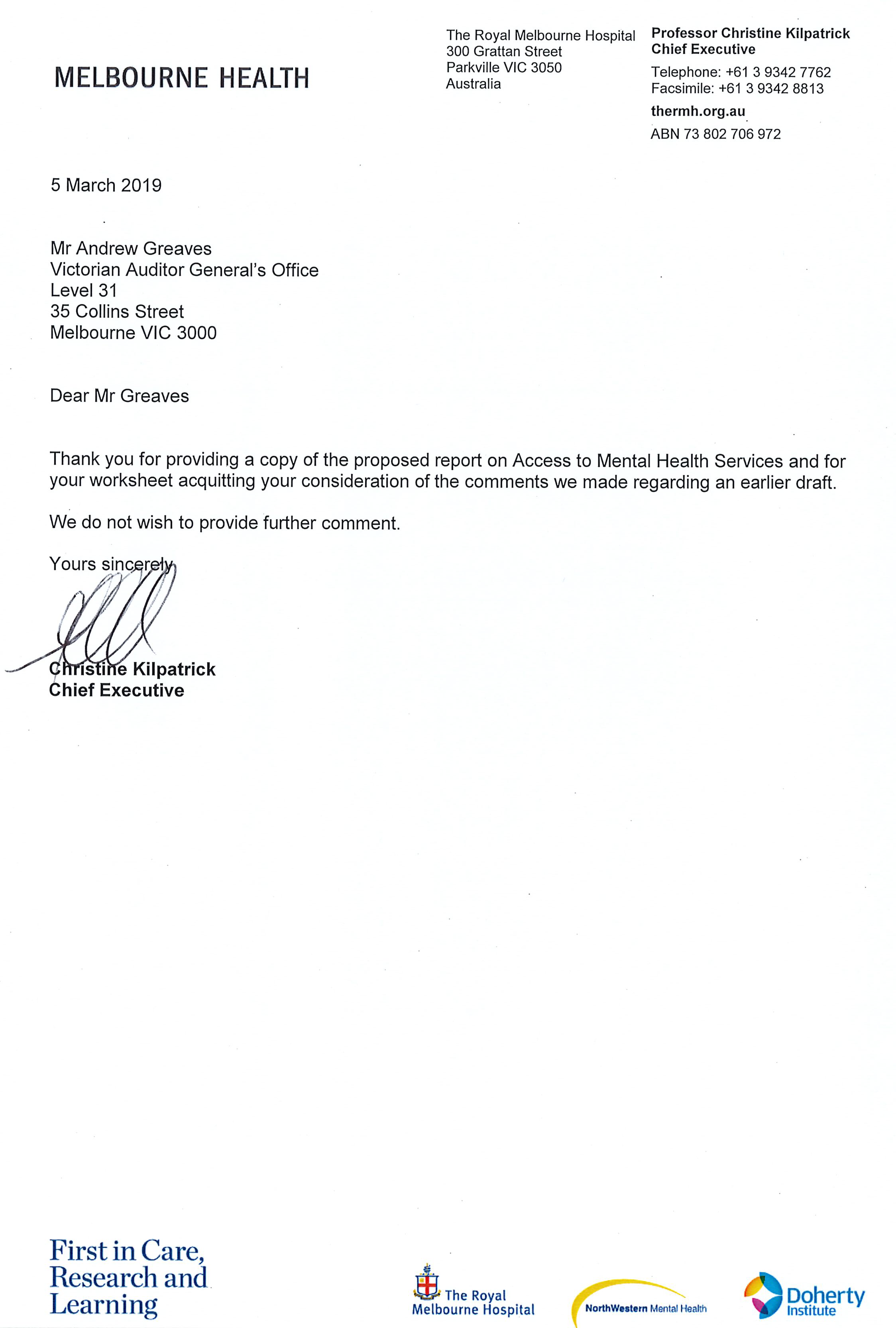 Response provided by the Chief Executive, Melbourne Health