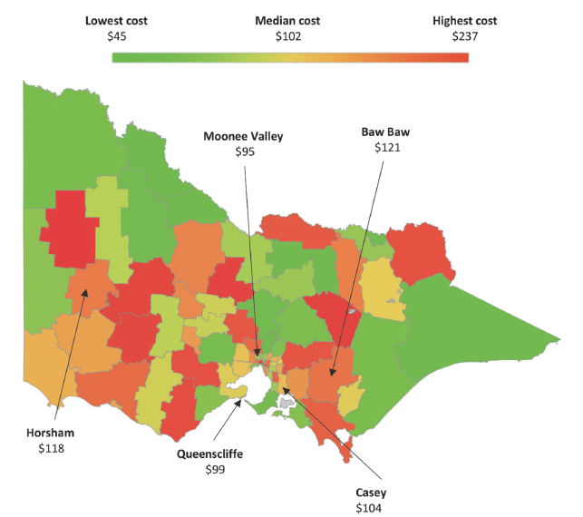 From this map, we can see that delivering more efficient garbage collection services is not specific to one council cohort—performance across all cohorts varies.