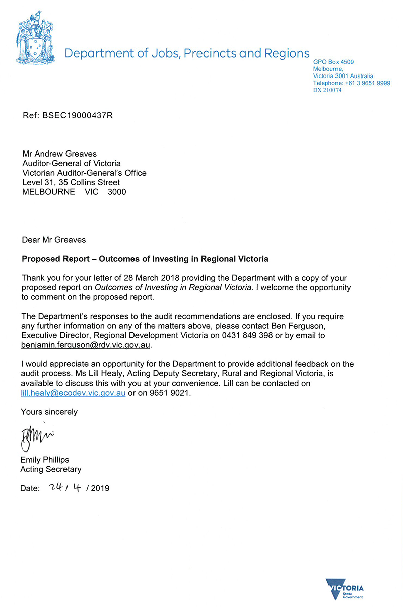 DJPR VAGO Letter from Secretary to AG - Outcomes of investing in Regional Vic_small.png