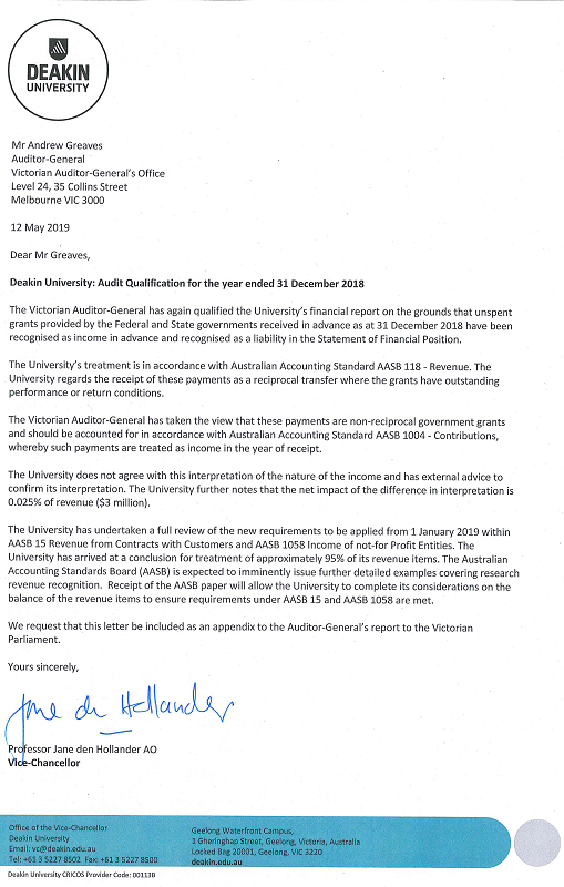 RESPONSE provided by the Vice-Chancellor, Deakin University