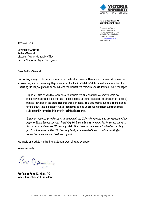 RESPONSE provided by the Vice-Chancellor and President, Victoria University