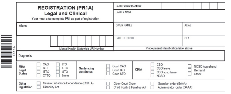 Figure 4C shows an excerpt of mental health service registration form PR1A, which health services complete for all mental health clients