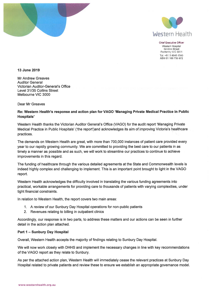 RESPONSE provided by the Chief Executive Officer, Western Health