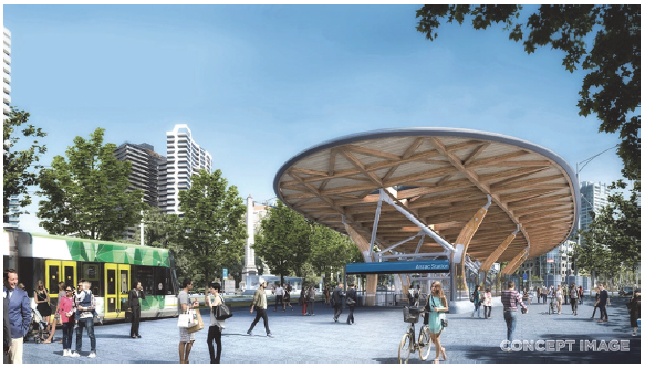 The Anzac Station design features entrances on either side of St Kilda Road, an underground pedestrian walkway and direct passenger access to trams. Image courtesy of RPV (Metro Tunnel website).