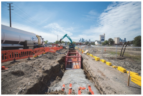 Utilities have been protected or relocated during the early works phase of the Melbourne Metro Tunnel Project. Photograph courtesy of RPV.