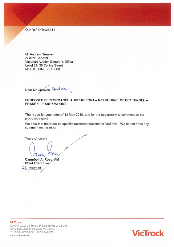 RESPONSE provided by the Chief Executive, VicTrack