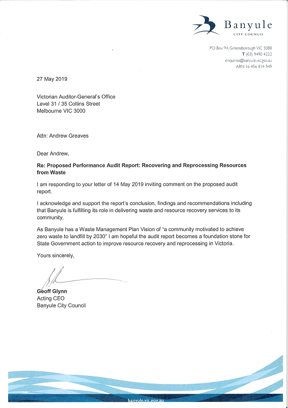 RESPONSE provided by the Acting CEO, Banyule Council
