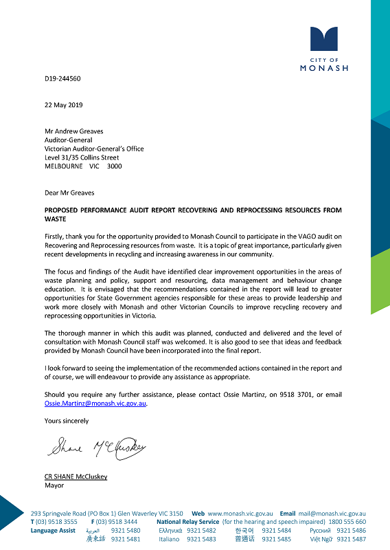 RESPONSE provided by the Mayor, Monash Council