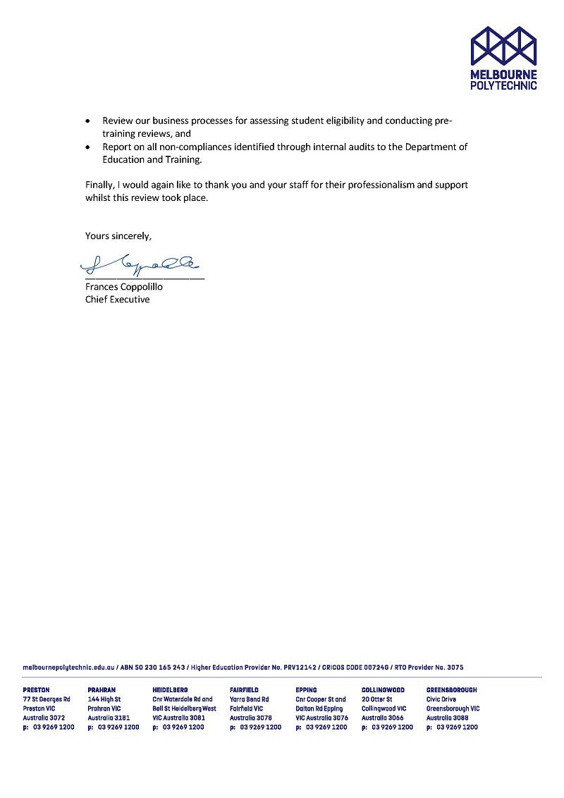 RESPONSE provided by the Chief Executive, Melbourne Polytechnic, pg 2